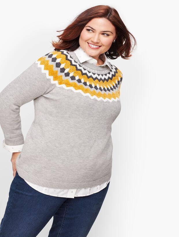Chenille Fair Isle Trim Sweater