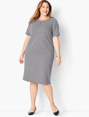 Refined Ponte Sheath Dress - Houndstooth Print