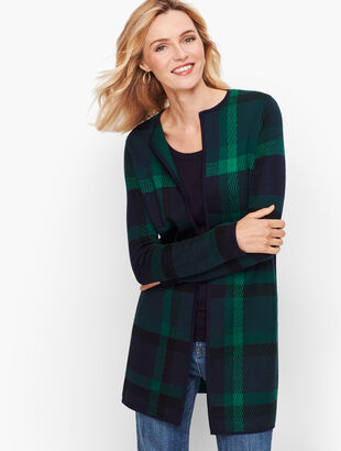 Plaid Merino Open Sweater