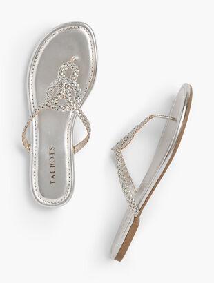 Cece Braided Keyhole Flip-Flops - Metallic
