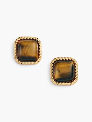 Tiger's Eye Stud Earrings