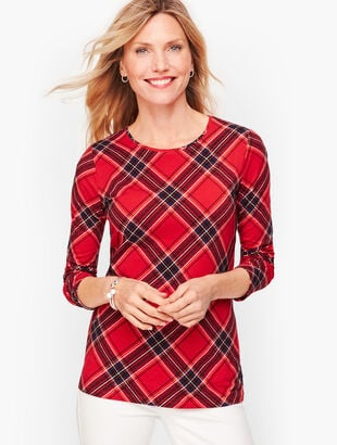 Long Sleeve Crewneck Tee - Plaid