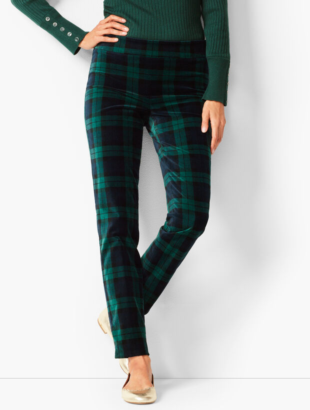Velveteen Talbots Chatham Ankle Pants - Black Watch Plaid