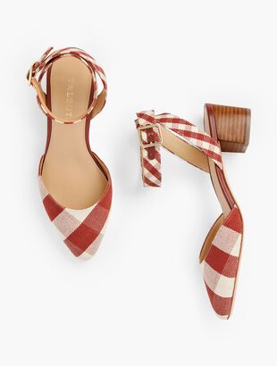 Laney Ankle Strap Heels - Gingham