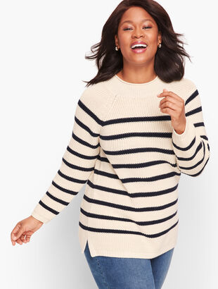 Cotton Shaker Stitch Roll Neck Sweater - Stripe