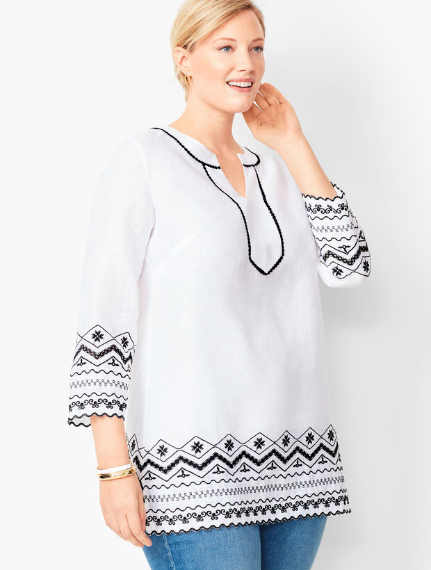 Plus Size Embroidered Tunic