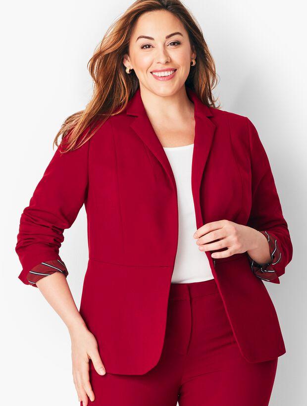 Italian Luxe Double-Cloth Peplum Blazer