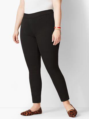 Plus Size Pull-On Denim Jegging - Black