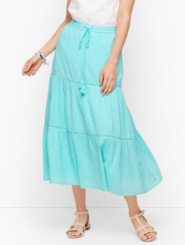 Crinkle Gauze Tiered Midi Skirt