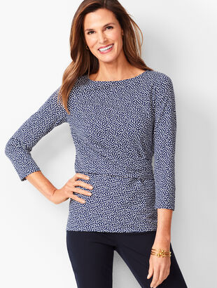 Side-Ruched Top - Allover Dot