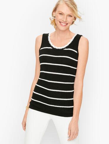 Crochet Trim Stripe Tank