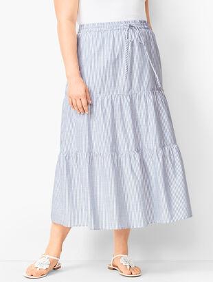 Tiered Cotton Midi Skirt