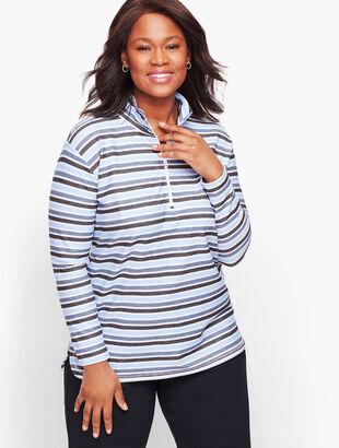 Textured Stripe Half Zip Pullover