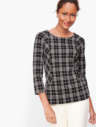 Zip Pocket Jacquard Top - Bicolor Plaid