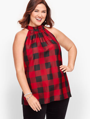 Tie Neck Halter Top - Buffalo Check