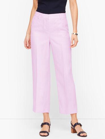 Linen Straight Leg Crop - Twill