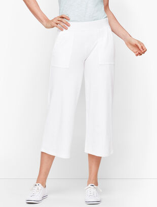 UPF 50+ Slub Terry Wide Leg Crops - White