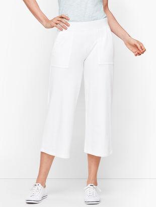 UPF 50+ Slub Terry Wide Leg Crops - White