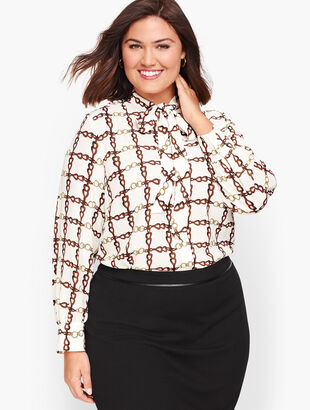 Crepe Tie Neck Top - Chainlink