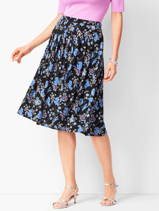 Pleated Wildflowers Midi Skirt