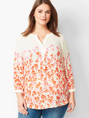Banded Collar Popover - Pastel Floral