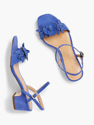 Meghan Flower Sandals - Suede