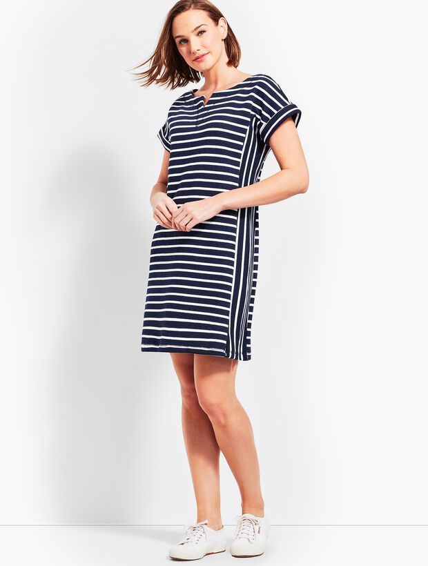 Stargazer Stripe T-Shirt Dress - Indigo Blue