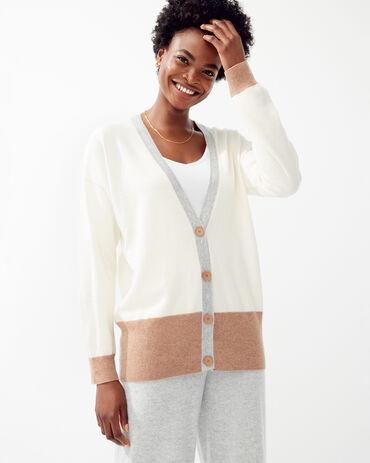 Pure Cashmere Colorblock Cardigan