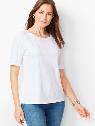 Embroidered Slub Tee - Solid