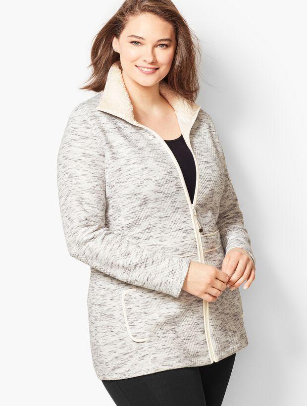 Fleece-Trim Quilted Jacquard Jacket