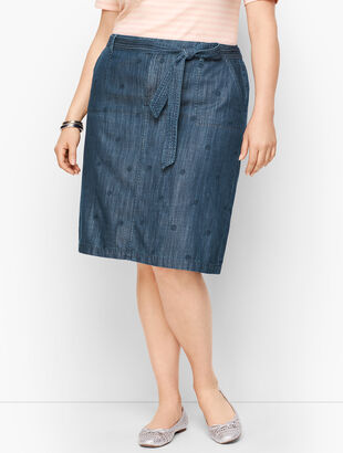 Embroidered Daisy A-Line Skirt- Chambray Blue