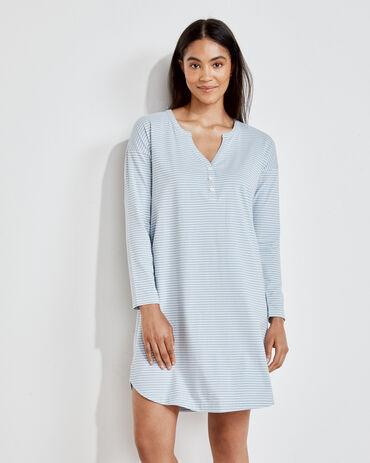Organic Cotton Jersey Striped Henley Sleep Dress