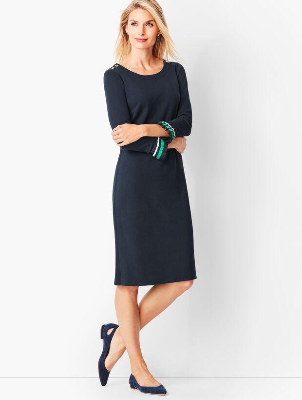 Pleated-Cuff Shift Dress