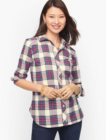 Cotton Button Front Shirt - Pretty Plaid
