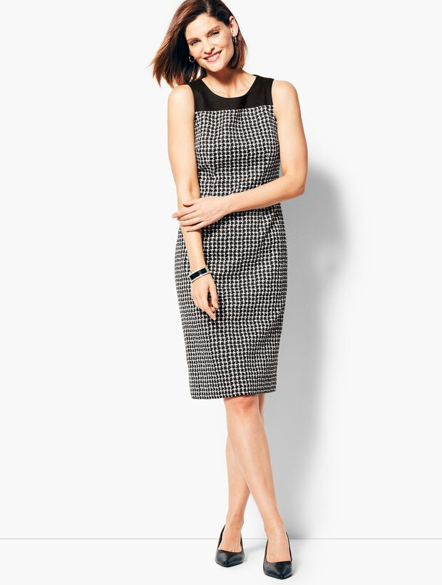 Textured Houndstooth Sheath Dress