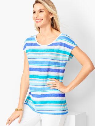 Drop-Shoulder Linen Tee - Stripe