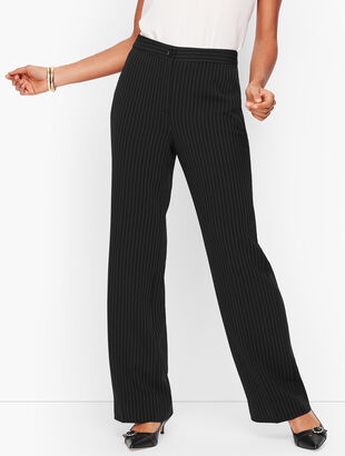 Easy Travel Pinstripe Wide Leg Pants