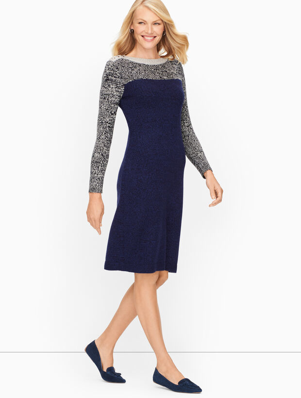 Marled Tweed Colorblock Dress