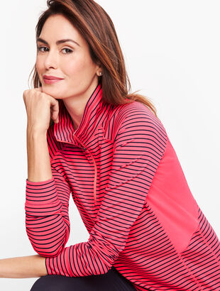On the Move Stripe Half Zip Pullover