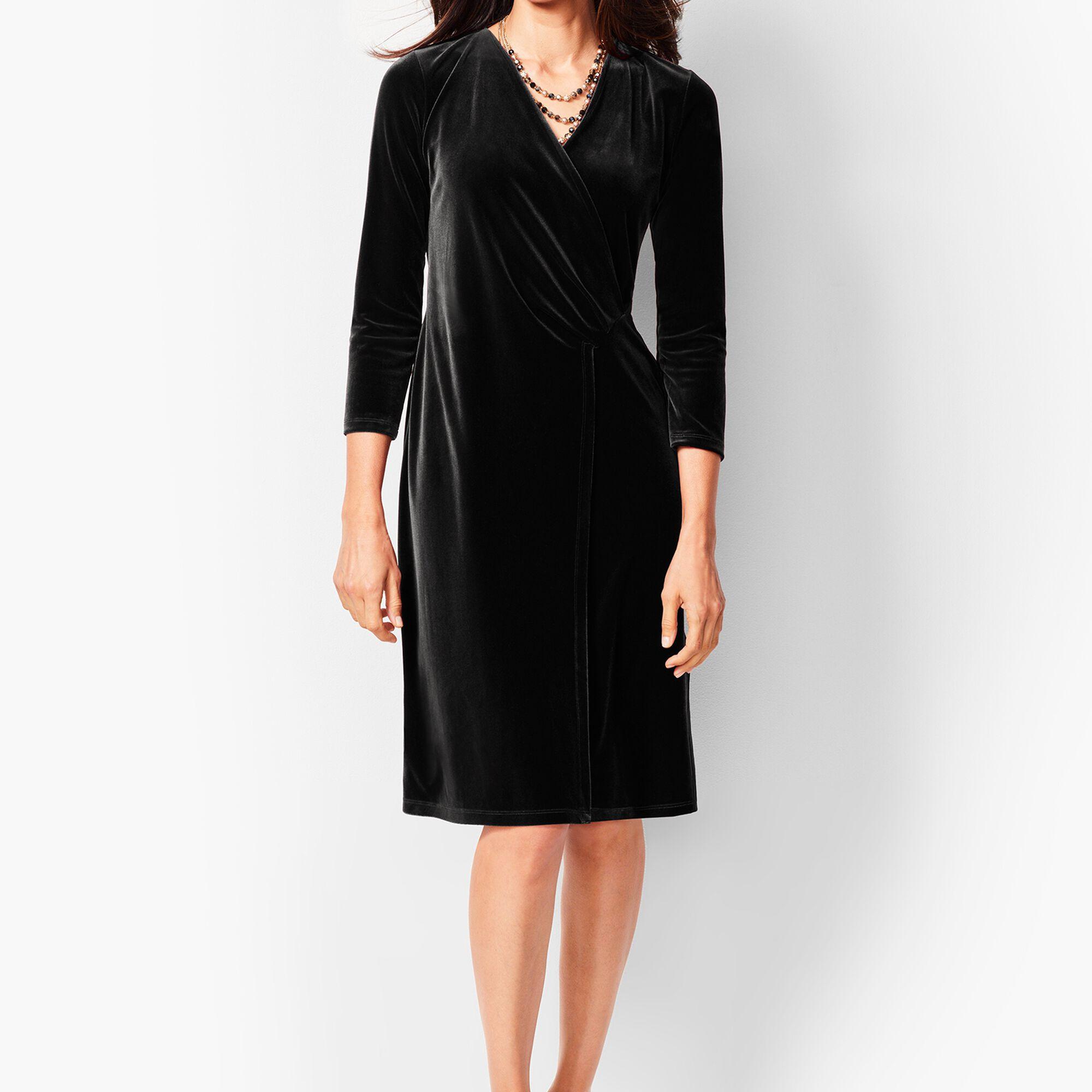 49978955e3 Velvet Faux-Wrap Sheath Dress | Talbots