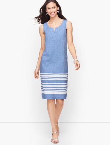 Split Neck Linen Shift Dress