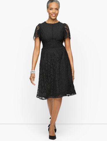 Flutter Sleeve Autumn Lace Fit & Flare Dress