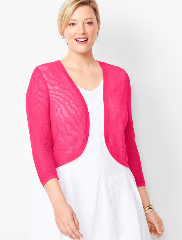 Plus Size Open-Stitch Dress Shrug