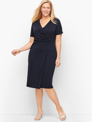 Knit Jersey Faux Wrap Dress
