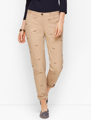 Girlfriend Chinos - Dachshund Embroidered