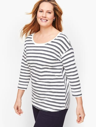 Mixed Stripe Back Cutout Top
