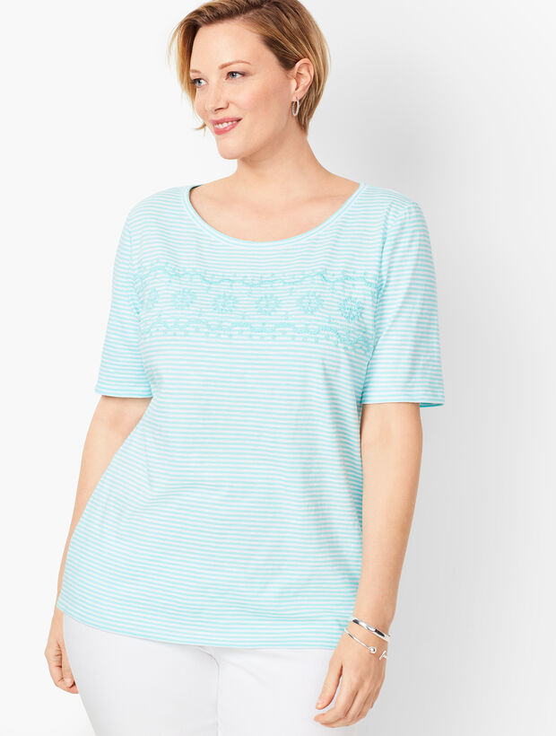 Embroidered Slub Tee - Stripe