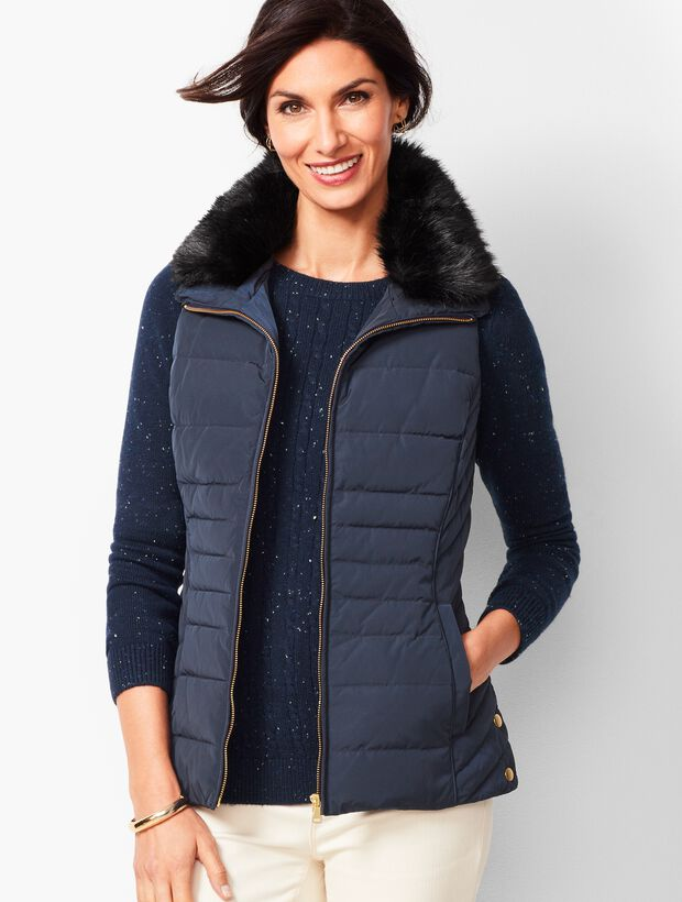 Down Fur-Collar Puffer Vest