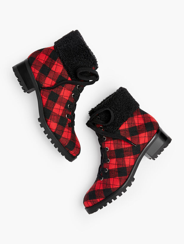 Tish Quilted Hiking Boots - Buffalo Check