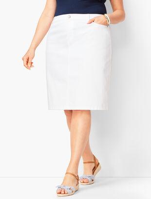 Classic Denim Skirt - White